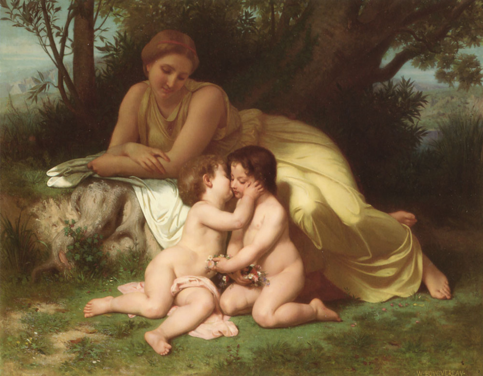 Young-Woman-Contemplating-Two-Embracing-Children-William-Adolphe-Bouguereau-1861_940x
